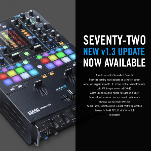 RANE® UPGRADES FIRMWARE OF REVOLUTIONARY SEVENTY-TWO MIXER TO VERSION 1.3