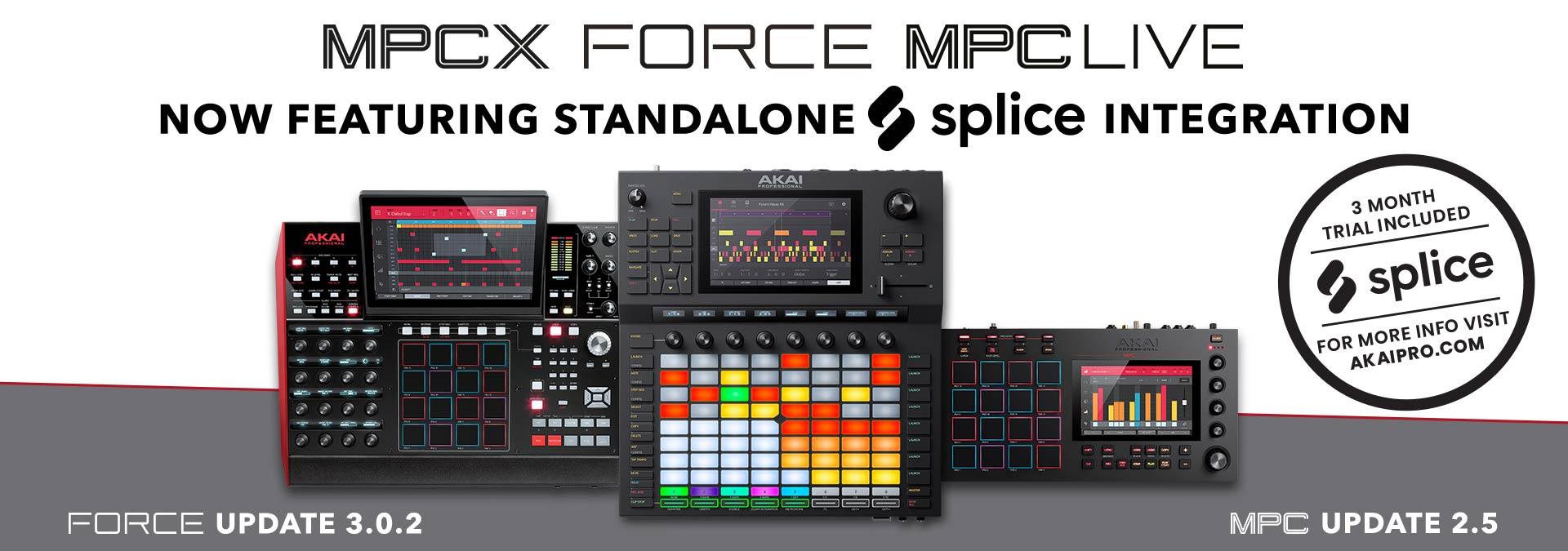 AKAI PROFESSIONAL Announces Splice Integration In Force, MPC Live