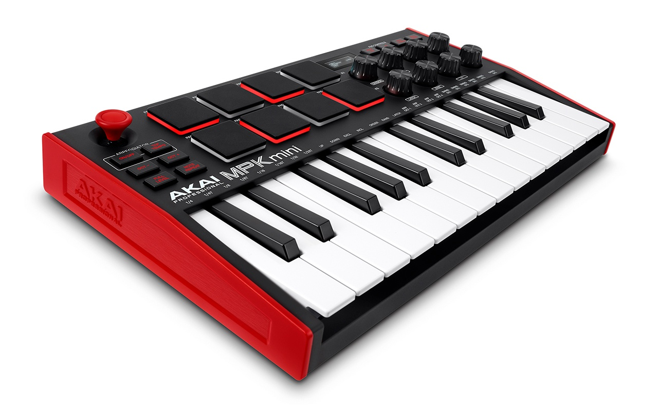 Angled view of MPK Mini MIDI Controller for DAW