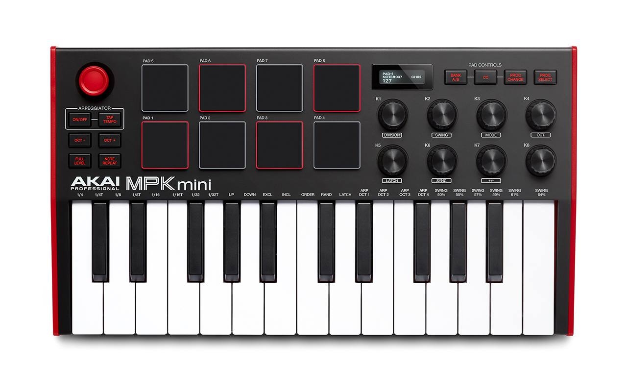 Top down view of MPK Mini MIDI Controller for DAW
