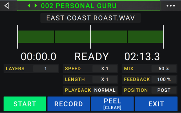 HeadRush Gigboard has a 20 minute looper that you can record, peel, overdub and even import or export .Wav and .MP3 files