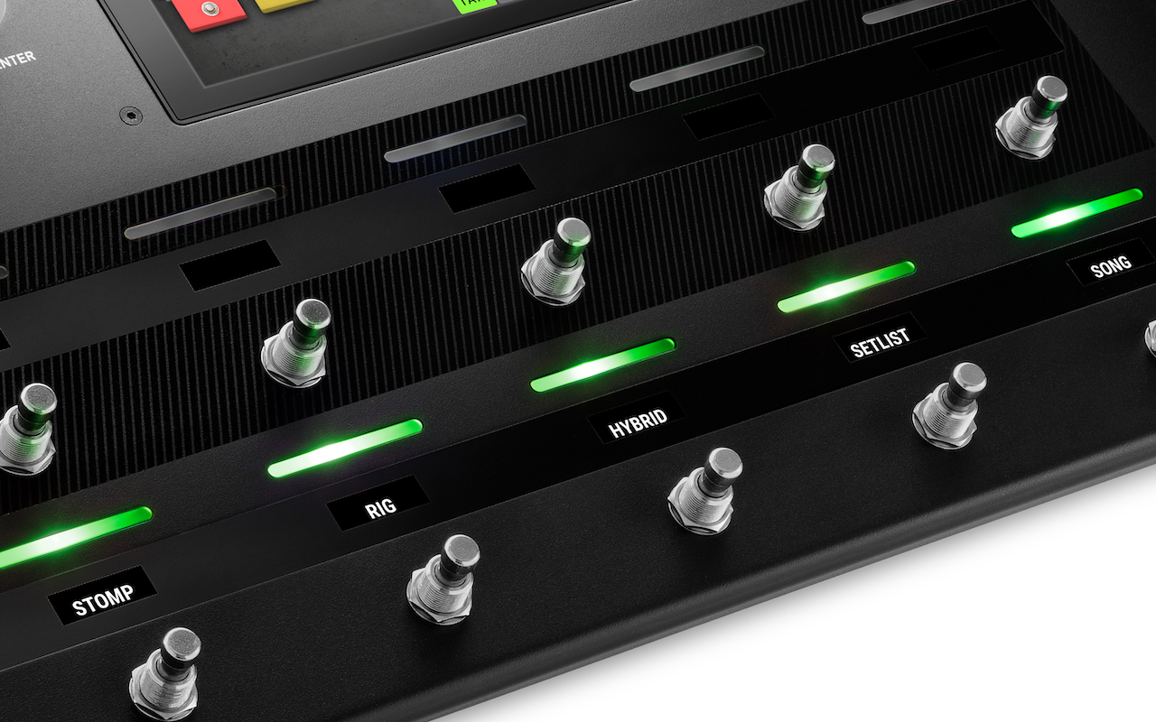 HeadRush Pedalboard Pedal Modes screen displaying Stomp, Rig, Hybrid, Setlist, Song Modes