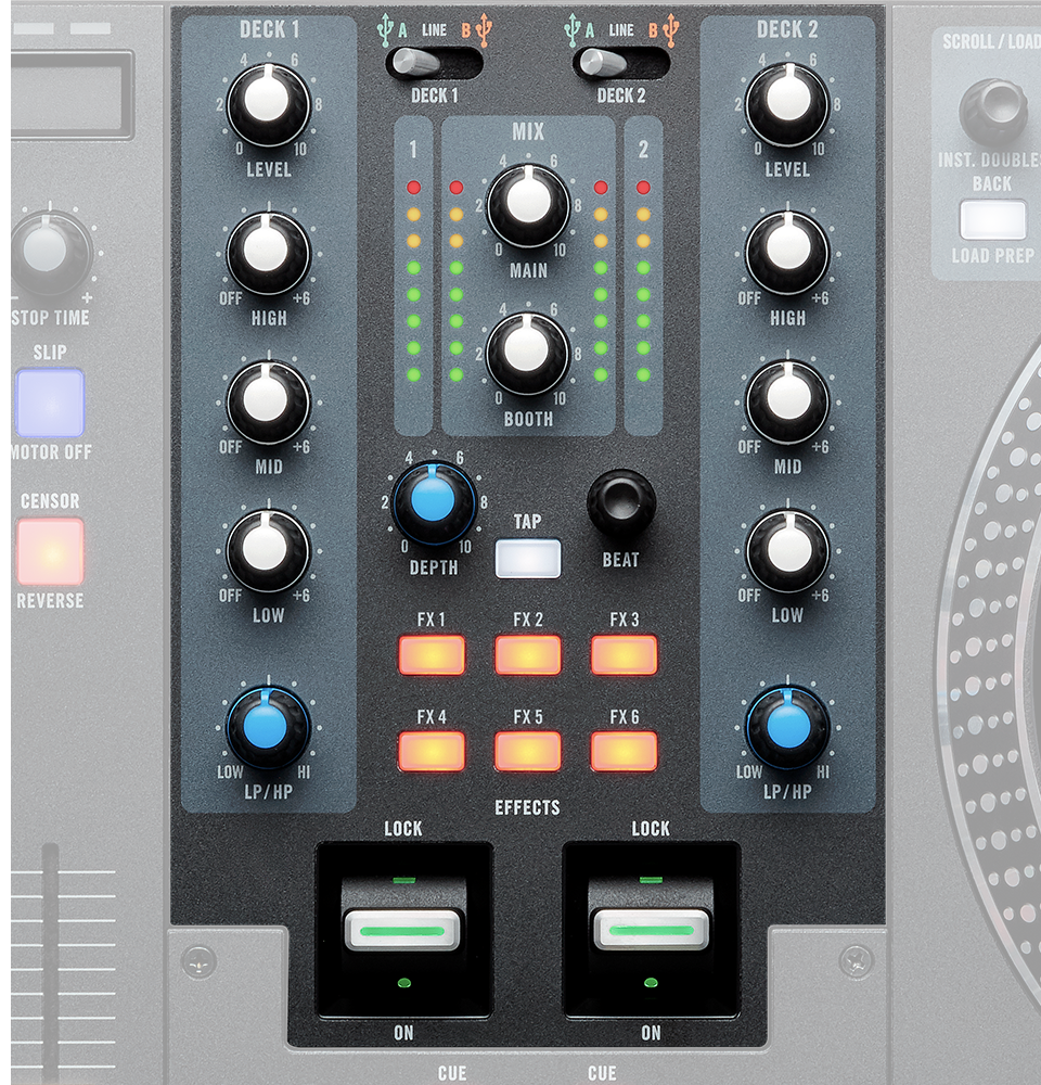 RANE ONE has 6 radio-style stackable FX buttons, instantly activate any combination of software FX with a single press
