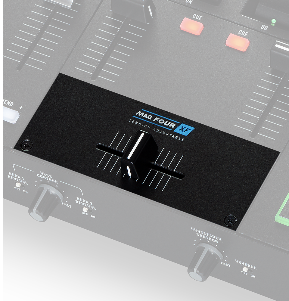 RANE ONE includes the MAG FOUR crossfader. Our lightest and smoothest fader ever