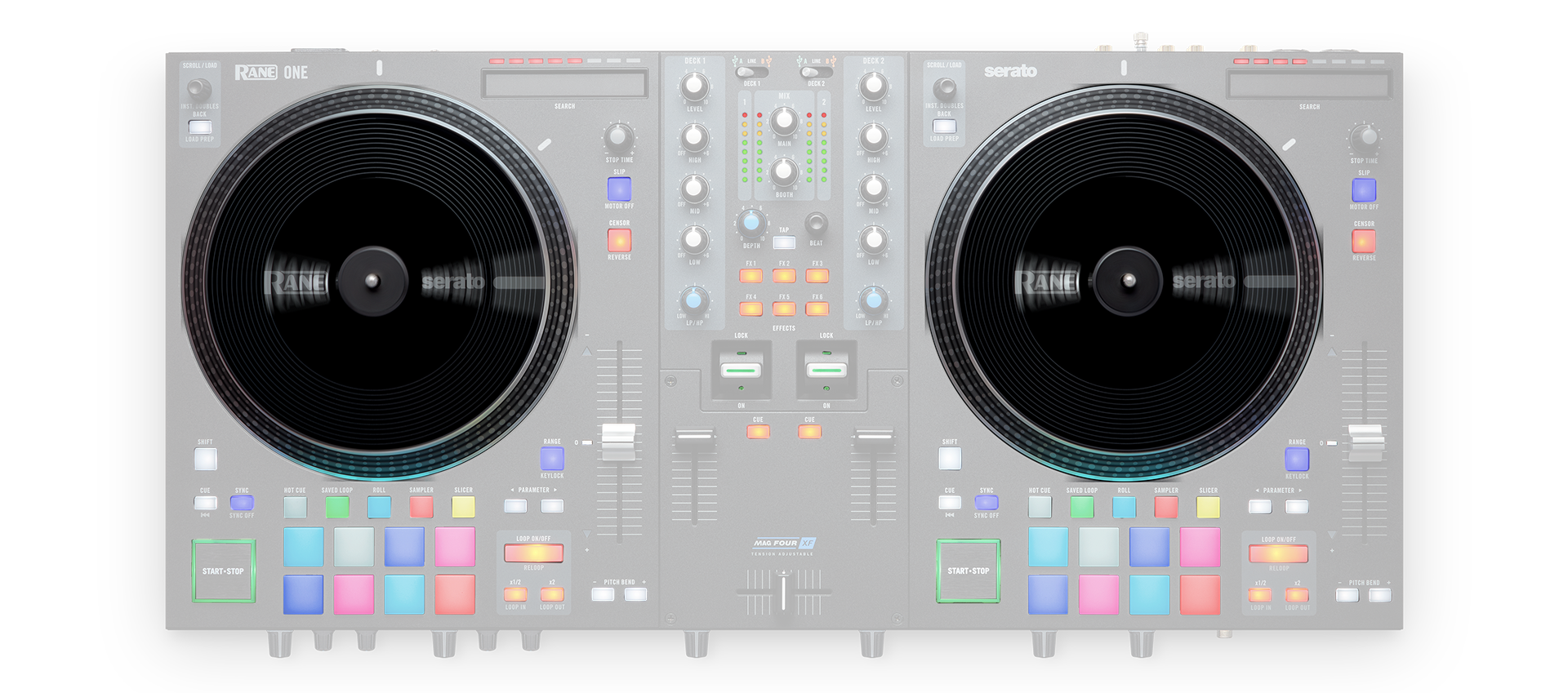 "RANE ONE – Professional DJ Controller with Motorized 7"" Turntable Platters"