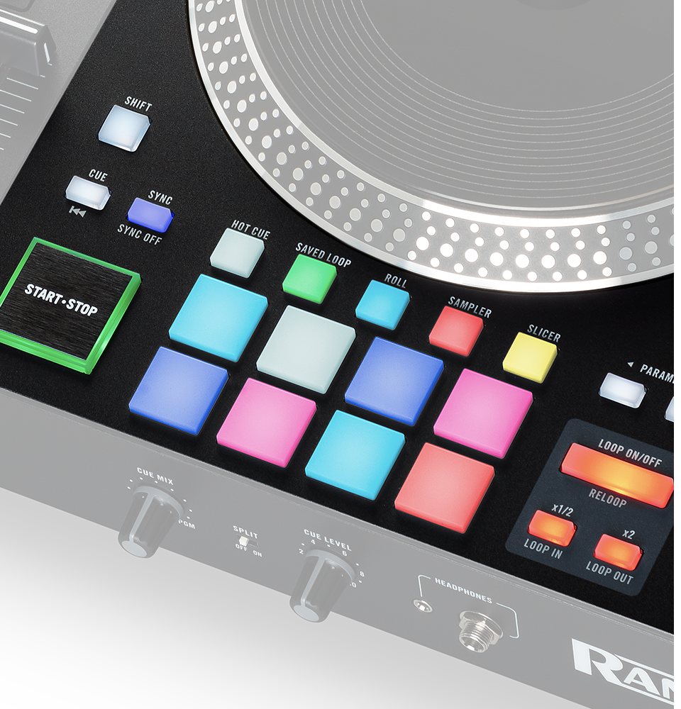 RANE ONE has 8 multi-function performance pads per deck for full creative control